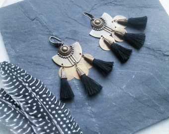 Black PomPoms, charms, bronze, Bohemian gypsy ethnic earrings