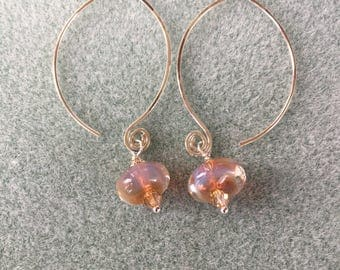 Peaches and cream borosilicate glass and sterling earrings