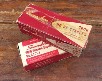 Vintage Office Supplies, Office Supply, Swingline Staples, Made In the USA, Box of Staples, Photography Props, Film Props, Retro Desk, 1950s