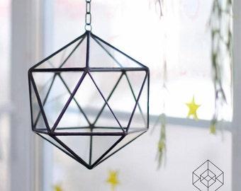 Icosahedron Pendant Geometric Terrarium / Handmade Glass / Air Planter
