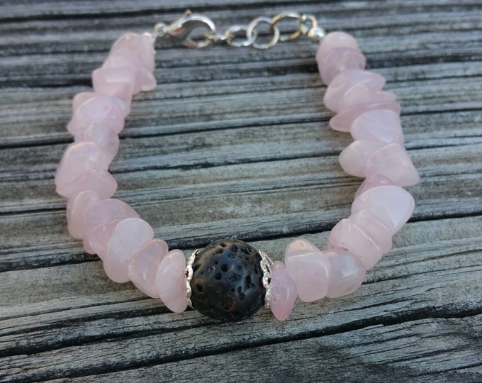 Rose Quartz and Lava Gemstone Bracelet, Heart Stone, Heart Chakra, Aromatherapy Bracelet, Gemstone Jewelry, Unique Birthday Gift