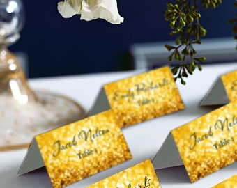 Gold Glitter Wedding Place Cards, DIY Place Card Printable, DIY Instant Download, code-042
