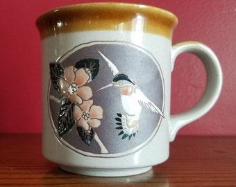 Otagiri Hummingbird mug, vintage coffee mug, japan
