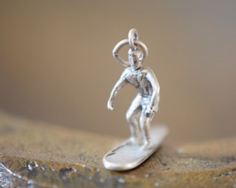 Surfer Dude Sterling Silver Charm - FREE SHIPPING within USA