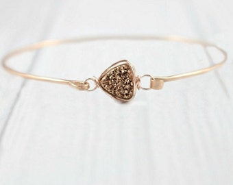 Druzy Bracelet, Rose Gold Bangle, Rose Gold Bracelet, Minimalist Bracelet, Raw Stone, Stone Bracelet, Rose Gold Druzy, Wire Wrapped, Thin