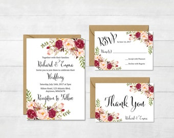 Burgundy Floral Printable Wedding Invitation Suite, Marsala Boho Wedding Invite, Floral Wedding Invite, Bohemian Invite, Download, 120-W