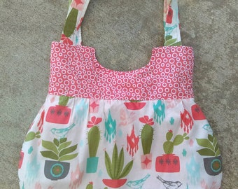 Cactus purse,  succulent bag, hand made cloth purse with two handles, inside pockets, unique handbag , coral and sage, bright colors RTS