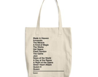 Queen - Canvas Tote Bag - Discography - Monogram Bag - Queen band - Freddie Mercury - Bohemian Rhapsody - Queen fan gift - Organic Tote Bag