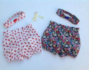 Baby shorts, girls bubble shorts, toddler shorts, baby bloomers, paper bag waist, high waist, short & headband set, girls outfit,  floral,
