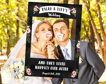 FULLY PRINTED Floral Chalkboard Wedding Selfie Frame Prop
