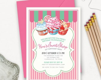 Cupcake Birthday Invitation Printable / Vintage Sweet Shoppe Invitation /  Sweet Shop Invitation / Printable Candy Invitation