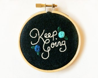 "Keep Going Positive Vibes 3"" Embroidery Hoop Roses Floral"