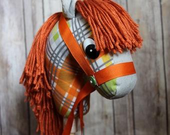 Stick Horse! Hobby Horse! Handmade stick Horse! Orange Stick Horse, Western Toy, Stick Pony! Little Cowboy Christmas gift age 12-18 months