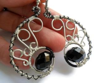 Wire wrapped earrings handmade, Black onyx earrings, Silver wire earrings, Bridesmaid jewelry, Black, Silver plated, Silver black earrings