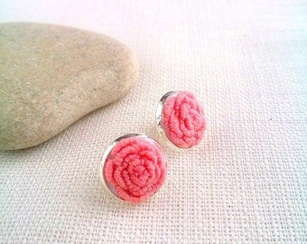 Pink wedding earrings Flower jewelry for bride earrings Pink rose stud earrings Embroidered jewelry gift for girlfriend Delicate jewelry art