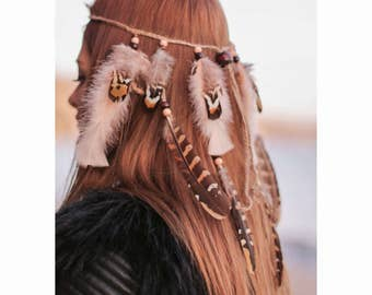 Feather headpiece , Hippie tribal jewelry , Native headband , Boho headdress , Hippie headband , Boho headband , Feather accessories