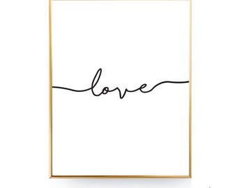 Love Script Printable Wall Art Printable Love Print, Love Wall Art, Love Poster, Love Printable, Minimalist Print First Apartment Gift [JPG]