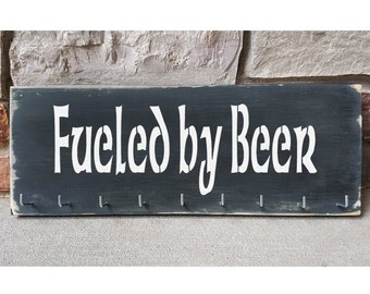 "Handmade Running Medal Holder ""Fueled by Beer"""