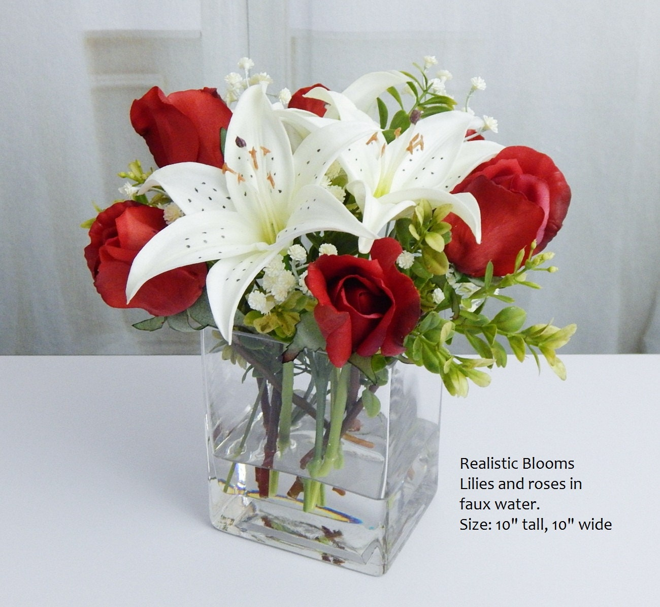 Realistic blooms floral arrangements silk real touch flowers red white silk roseroses lilylilies glass vase reviewsmspy