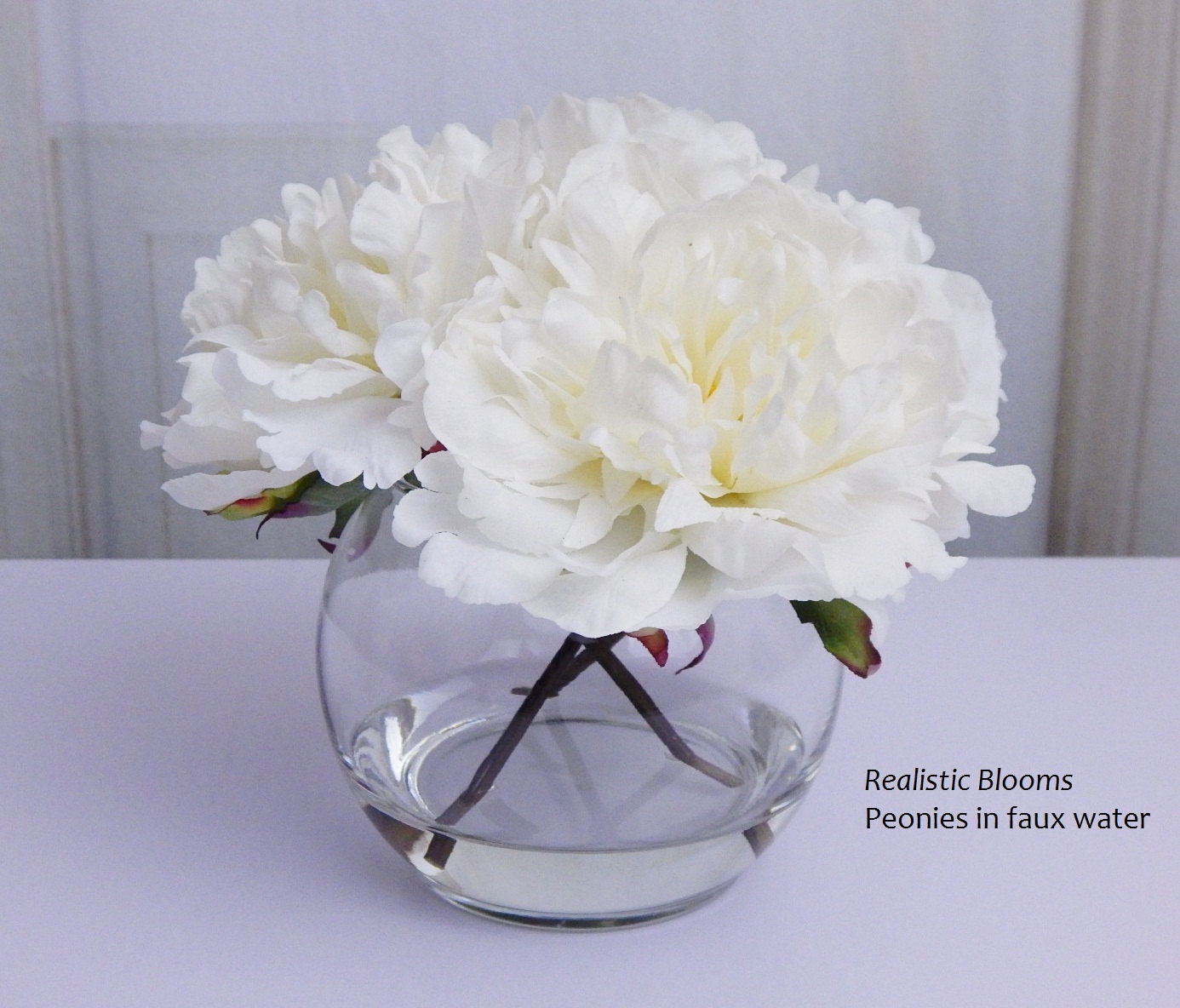 Whiteoffwhite silk peonies glass vase faux water acrylic whiteoffwhite silk peonies glass vase faux water acrylic illusion real touch flowers floral arrangement centerpiece home gift reviewsmspy