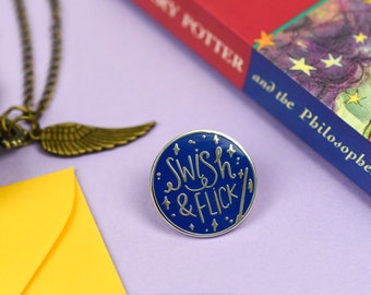 Swish & Flick enamel lapel pin | cute enamel pin hat badge wizard magic