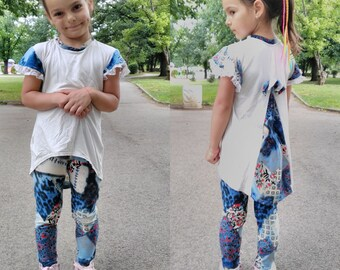 Girls sewing pattrn - 2 versions tunic and leggings set