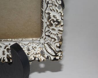 Gold plated antique white victorian picture frame,8x10 photo frame,wall frame,footed gold frame,glass front,picture display, victorian decor