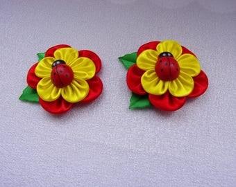 Elastics to hair for child/Chouchox Ribbon satin/Barrettes flowers kanzashi in satin/ribbon satin
