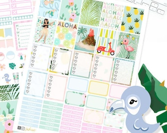 Printable Planner Stickers, June weekly planner, Hawaii stickers, use with Erin Condren, Beach, Summer, Travel, Flamingo, palm floral