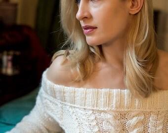 Open Shoulder Dress, Aran Dress, Hand knitted dress, Warm Dress, Ready to Ship