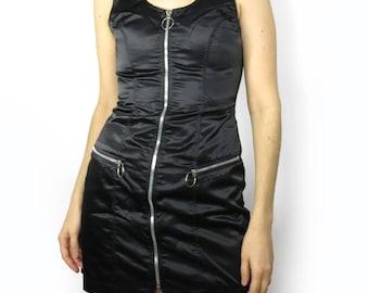 Black O Ring Nylon Goth Dress Size Small Medium Tripp Hot Topic