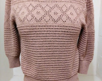 Vintage Light Brown Knitted Sweater, College Town Sweater, Thee Quarter Sleeve Sweater, Spring Summer Sweater