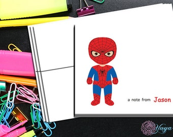 Personalized spiderman Stationery / Custom Avenger Stationery / Avengers Thank You Card Set / Custom Boy Stationery / Set of 12