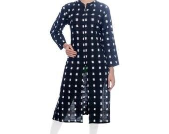 Black and white square double ikat long cotton kurta