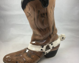 Vintage Brown Cowboy Boot With Spurs Ceramic Planter