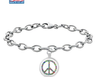 MOSAIC PEACE Sign - Silver Charm Bracelet - Rainbow Peace Symbol - Jewelry - Gift - Made in the USA