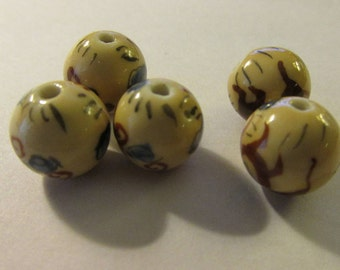 Vintage Hand Painted Chinese Dragon Porcelain Ceramic Beads, 13mm, Set of 5