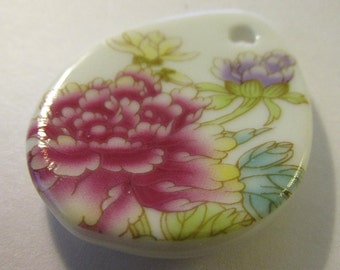 "Chinese Hand Painted Pink Peony Blossom Ceramic Pendant, 1 7/8"""