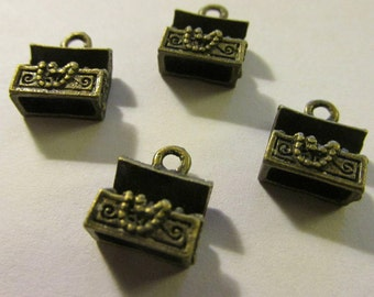 Mini Bronze Treasure Chest Charms,10x8mm,Set of 4