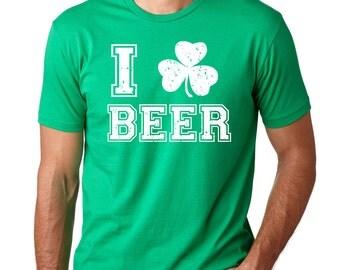 St Patrick's Day T-Shirt I Love Beer Shamrock Irish Pub Party Tee Shirt