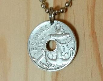 Spain Anchor coin pendant necklace, 50 Centimos Spain coin necklace, Spanish anchor coin charm.