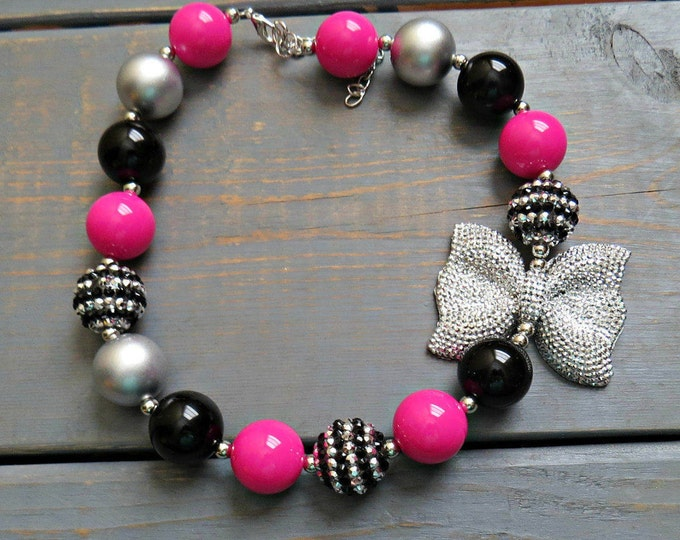 Hot Pink, Black and Silver Chunky Bead Necklace, Bubblegum Necklace, Baby Girl Necklace, Baby Photo Prop, Bow Necklace