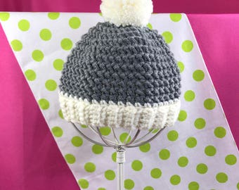 Baby Boy or Girl Beanie Hat with Pom-Pom, Crocheted, Size Newborn, MADE TO ORDER, Many Colors Available, Baby Shower Gifts, Newborn Baby
