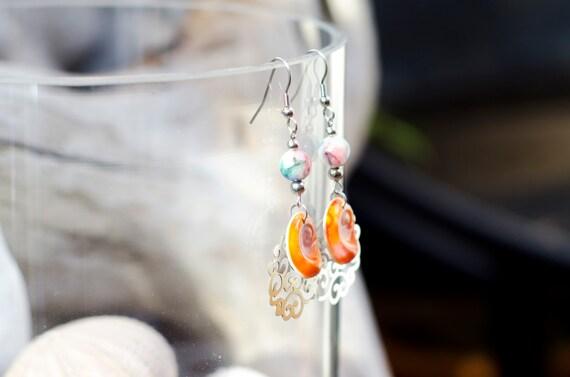 Blue & seal shell dangle earrings hook - Eye of Saint Lucia