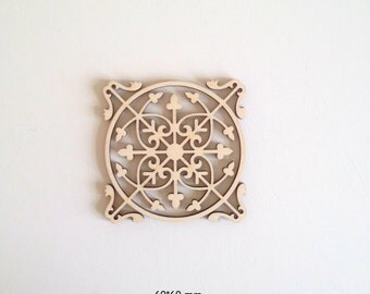 Lacy Laser cut wood ornamental detail 357 / Wood shapes / Wood ornaments / Wood charms / Laser cut wood / Ornaments / Wood cutouts / Cutouts