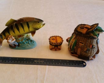 inarco japan fish planter / vase with 2 tackle boxes - home cabin decor knick knacks lake ocean fly fishing - bait resin porcelain ceramic