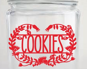 Cookies Decal, Canister Labels, Cookie Jar Decal, Kitchen Organization, Kitchen Labels, Seasonal Decor, Kitchen Canister Decal