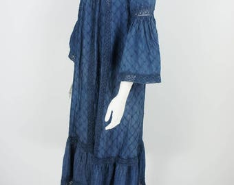 Vintage 1970's Hand Dyed Natural Indigo Dress with Pin Tuck and Lace Detail size S/M