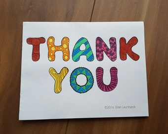 PDF Printable Colouring Card: Thank You