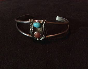 Small Native American Silver, Turquoise, and Coral Cuff Bracelet